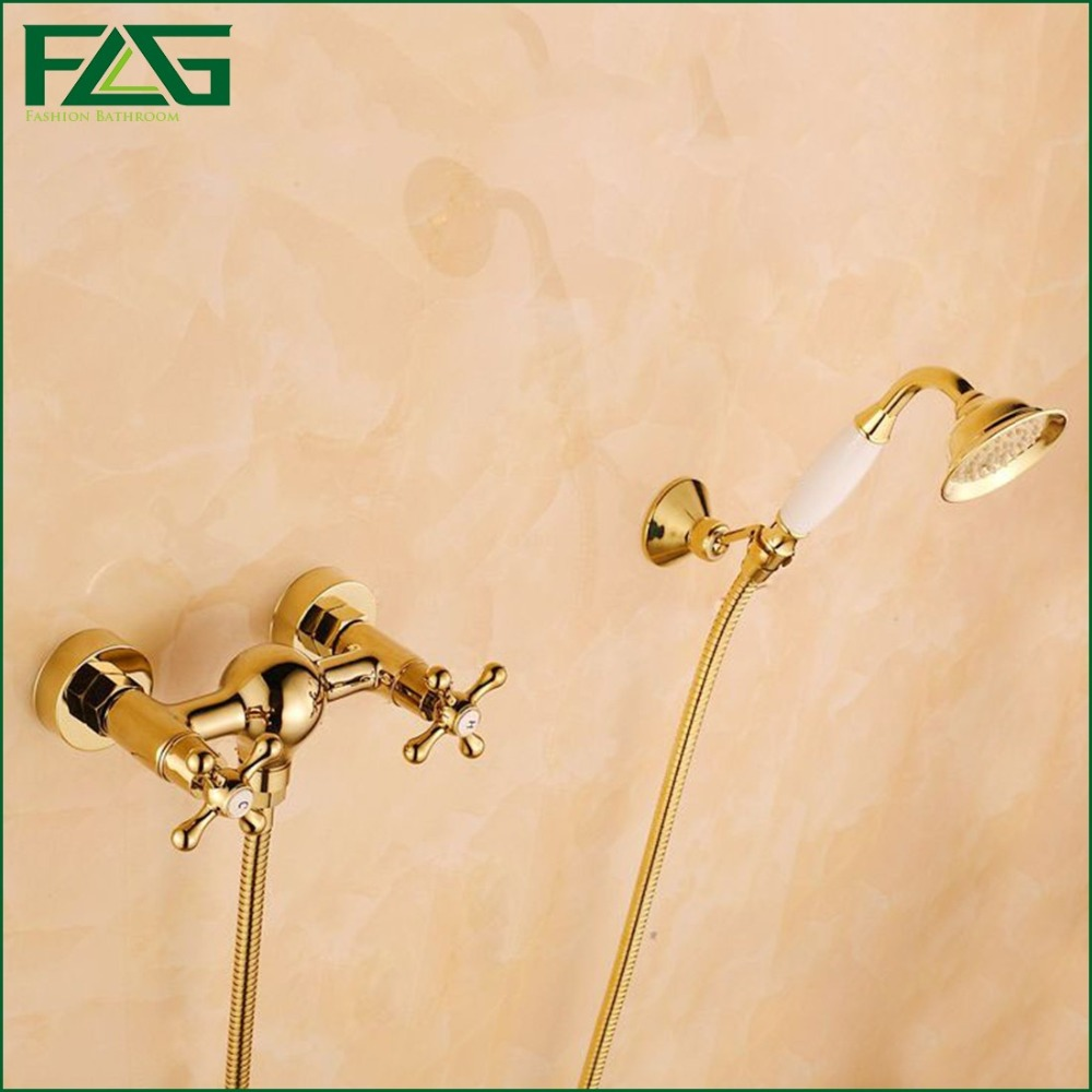 FLG Wall Mounted Bathtub Faucet With Ceramic Hand Shower Waterfall Bath Faucet Brass Gold Plated Finish Bath Shower Mixer HS033 wall mounted single handle bath shower faucet with ceramic handshower antique brass finish
