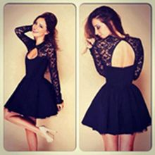 2018 spring clothing women Open Back Lace Sexy or club Long Sleeve A-Line Dress with Floral  black Elegant women's dresses