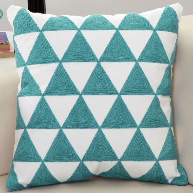 100% Cotton Modern Luxury Geometric Embroidered Cushion Covers Accent Decorative Throw Pillowcase for Sofa Seat Chair Home Decor