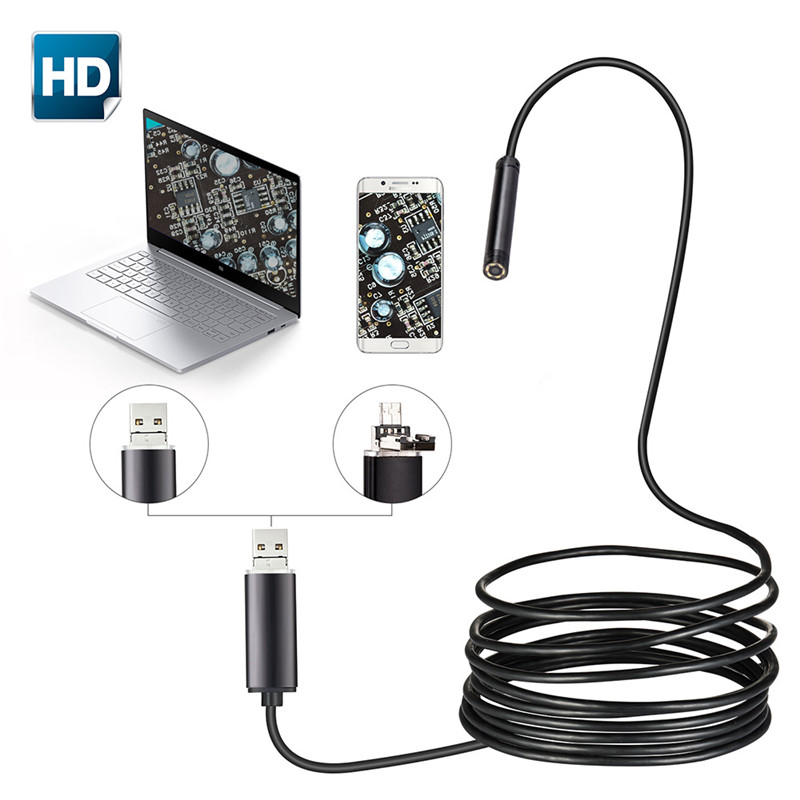 Robotsky 7mm 2 IN 1 USB Endoscope 480P HD Snake Tube Android Borescope Endoscopio