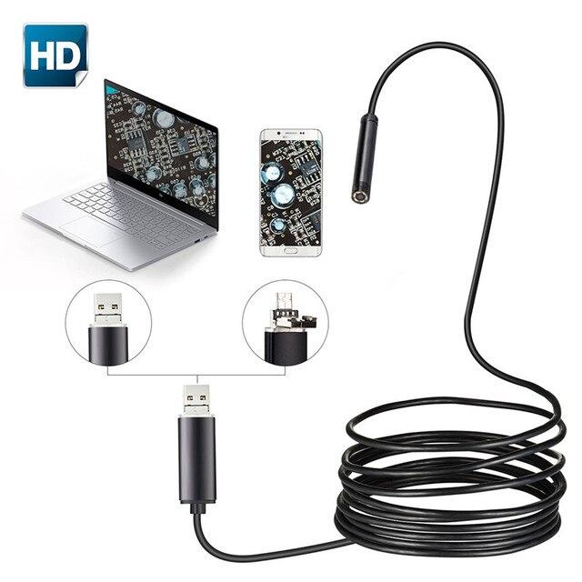 7mm 2 EM 1 USB Endoscópio 480 p HD Micro Câmera Cobra Tubo e Inspeção Borescope Android USB Endoscopio para PC Telefone Inteligente