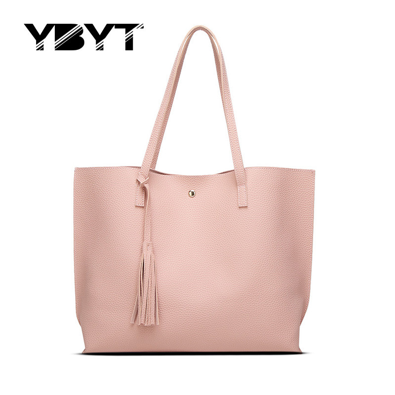 YBYT brand 2017 new simple leisure tassel solid women handbags hotsale lady shop