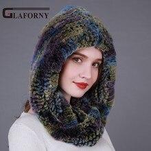 Glaforny 2017 Winter knitted  rabbit fur hat scarf Genuine Fur Hats Women New  Fur Scarf Female Real Rex Rabbit Fur Scarves