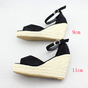 Image 5 - Sandalias de cuña de piel sintética para mujer, zapatos de tacón alto de piel sintética con punta abierta, cuñas de correa para el tobillo, color negro, talla 32 44