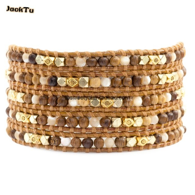 2017 summer style wood stone bracelet with gold alloy parts jewelry