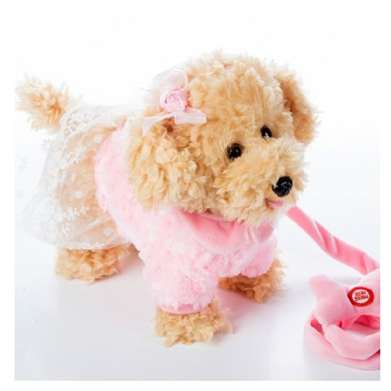 Electric leash dog Miss Teddy Plush Toys Music machinery remote control Leash dog electronic toys For