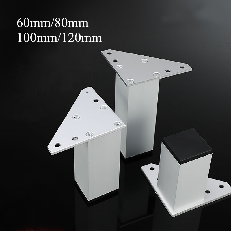 4pcs Square Metal Furniture Leg Cabinet Coffe Table Legs Thick Aluminum Alloy For TV Cabinet Sofa Foot Support Bed Riser