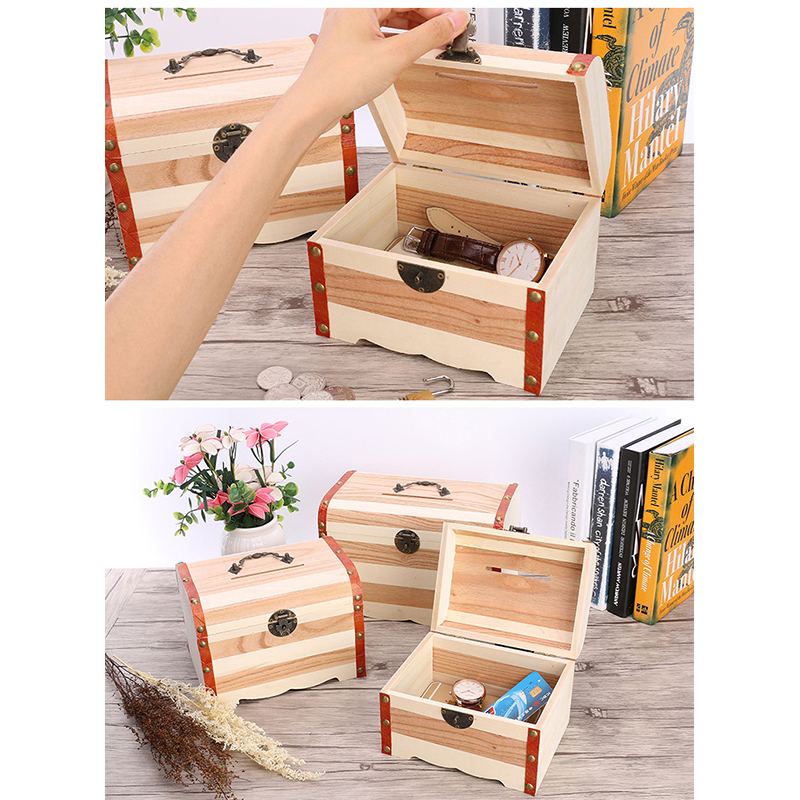 buy aiban wooden treasure chest piggy bank money storage box with lock safe coins collection case birthday children gifts from reliable