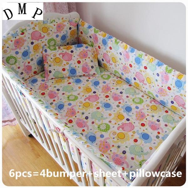Promotion! 6PCS  Baby Bedding Set 100% cotton cot crib bedding set bedclothes (bumpers+sheet+pillow cover)