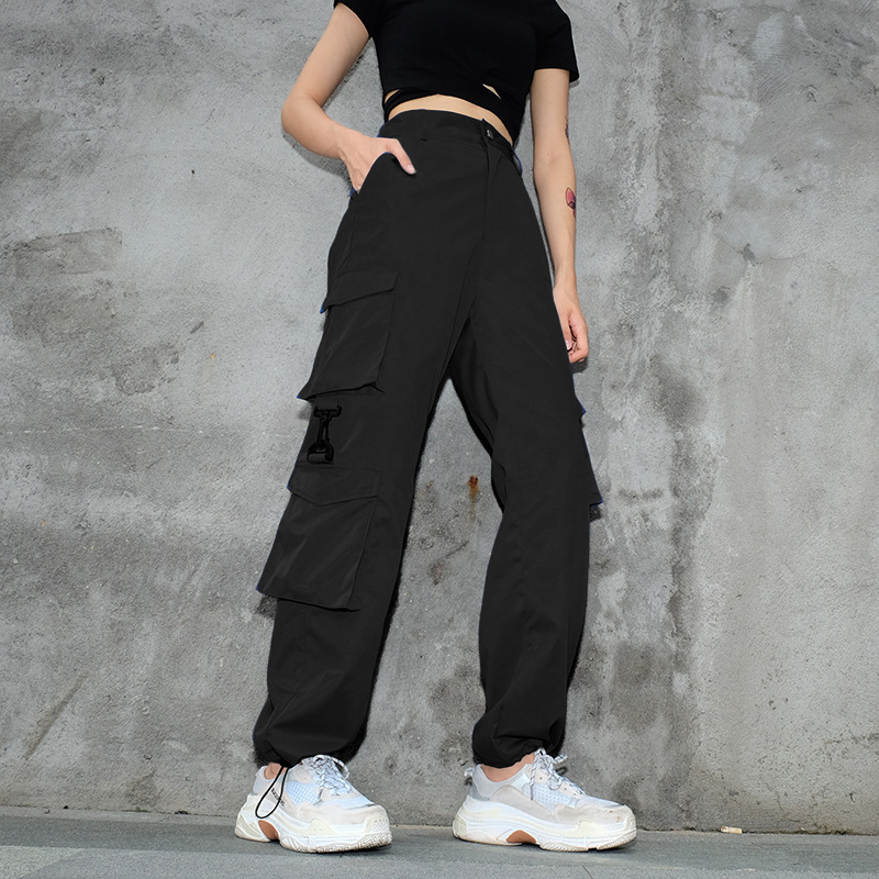 High Waist   Pants   Camouflage Loose Joggers Army Harem Camo   Pants   Women Streetwear Punk Black Cargo   Pants     Capris   Trousers L209