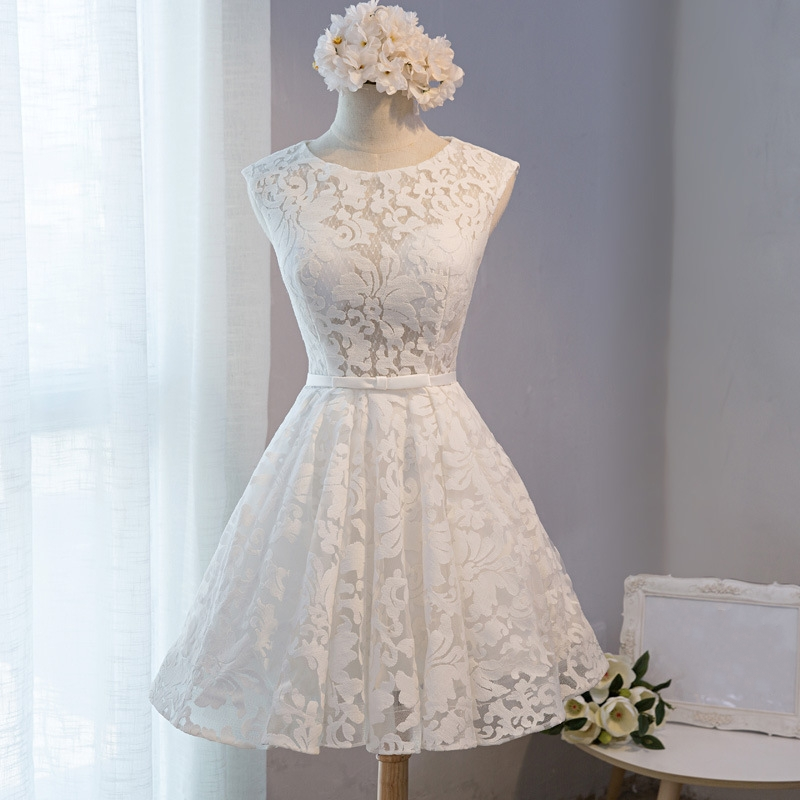 Sweet Ivory Little White   Dress   Lace Vestidos De Festa Pleated A-line Mini   Bridesmaid     Dresses   Sash Short Prom Party Gowns