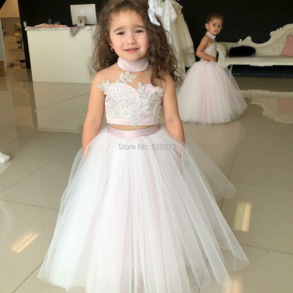 YNQNFS FG17 Real Ball Gown Photo Shoot Pageant   Dress   Birthday Party   Dress   Wedding Two Piece White Pink   Flower     Girl     Dresses