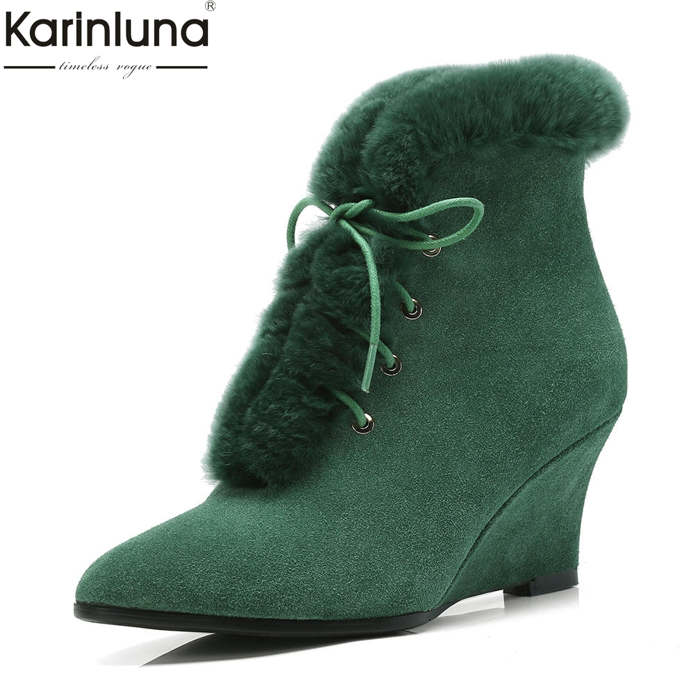 KarinLuna Cow Suede Leather New Fashion Wedge High Heels Women Shoes Woman Boots Lace Up Ankle Boots Pointed Toe Shoes Woman цены онлайн