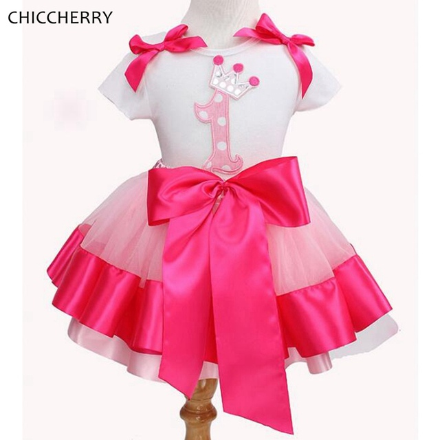 fcc5444ee Baby Girl 1st Birthday Outfit Tops Lace Tutu Skirt Children Clothing ...