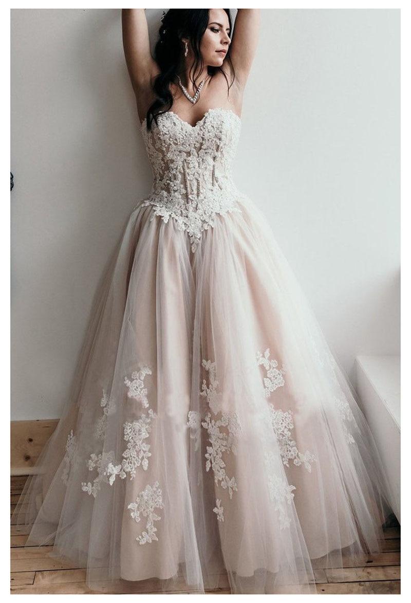 Boho plage robes de mariée chérie Appliques a-ligne bretelles princesse à lacets robe de mariée dos robe de mariée