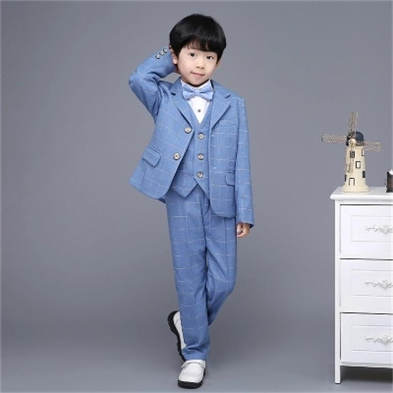 все цены на 2018 new fashion blue Plaid baby boys suit kids blazers boy suit for weddings prom formal spring autumn wedding dress boy suits онлайн