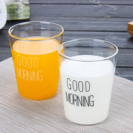Good Morning  Drinkware 400ml Heat-resistant Glass Juice Cup Coffee mug Microwave, Dishwasher Safe Milk Cup Nice Home Utensil ...