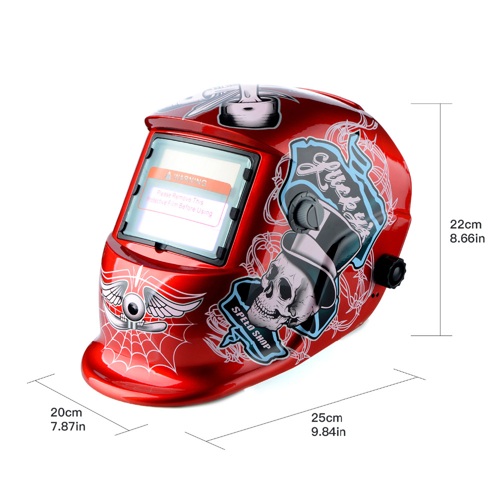 New Red Skull Solar Auto Darkening MIG MMA Electric Welding Mask/Helmet/welder Cap/Welding Lens for Welding Machine fire flames auto darkening solar powered welder stepless adjust mask skull lens for welding helmet tools machine free shipping
