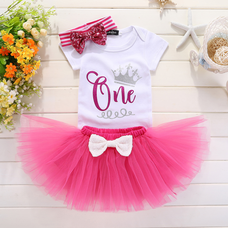 Baby 1st Birthday Outfit Girl Summer Tutu Clothes Sets Little Princess Girl Dress Romper Suits For Baby Party Vestido Batizado