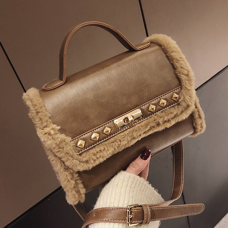 72f1a01455 Velvet Hairy side Rivet totes women messenger bags leather designer handbags  Small lock shoulder Crossbody bag fashion handbag