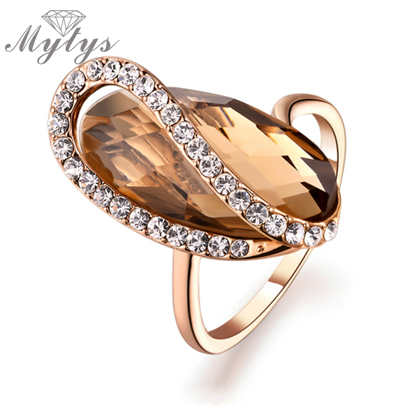 Mytys High Level Brown Crystal Rose Gold Irregular Shape Fashion Rings for Women R535