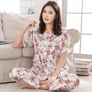 Image 4 - Pajamas Set Women Summer Mom Sexy Flower Cotton Pyjamas 2Piece/Set Long Pants Short Shirt Big Size Pregnant Home Mom Sleepwear