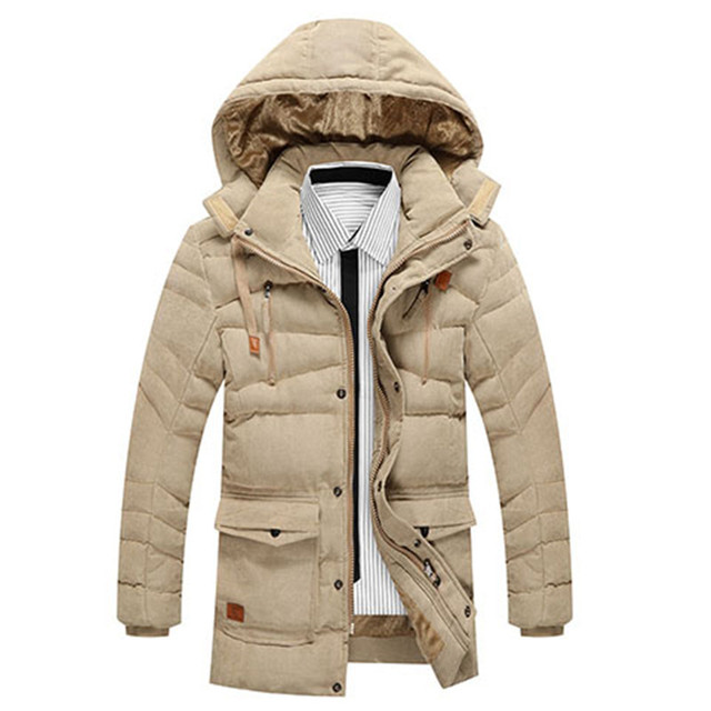 e8186f35b New Arrival Winter Men Solid color Medium long Parkas Slim Hooded Coat  Thick warm outwear Man winter jacket dropshipping