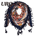 2016 New Fashion Women Square Scarf Printed Ladies Brand Wraps Hot-Sale Winter Scarves cotton from India Floral Hijab V11A11668