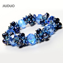 JIUDUO Natural Freshwater Pearl Bracelets For Women China Crystal Dark Charm Bracelet Girlfriend Gift Hot Sale Jewelry