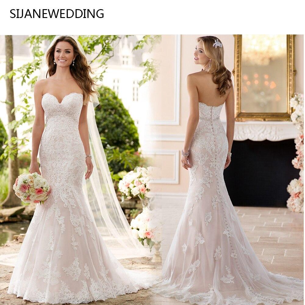 French Lace Mermaid Wedding Dress: SIJANE Strapless Trumpet Mermaid Wedding Dresses Beach