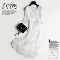 New 2019 Real 100% Silk Dress Women Natural Silk High Quality Elegent Holiday Beach dress Long White Half Sleeve Free Shipping