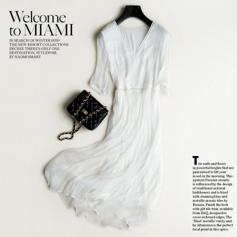 Nouveau 2019 réel 100% robe en soie femmes soie naturelle de haute qualité élégant vacances plage robe longue blanc demi manches livraison gratuite