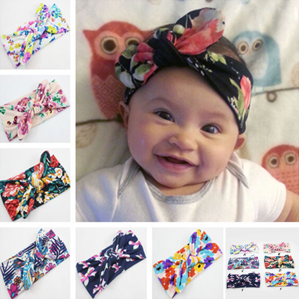 Kids Wide Bowknot Cross Knotting Head Band Floral Sweet Women Fashion Headband Cloth Solid Stripe Floral Girl Hair Accessories(China)