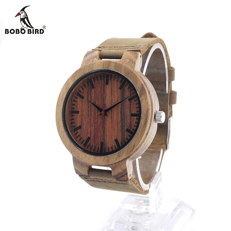 BOBO BIRD Mens Zebra Wood Wristwatch Japan 2035 Movement Quartz Watch with Brown Leather Band Relogio Masculino Mujer V-C18 2016 natural bamboo wood wristwatch japan quartz movement 2035 army nylon fabric strap new fashion wood watch with nylon band