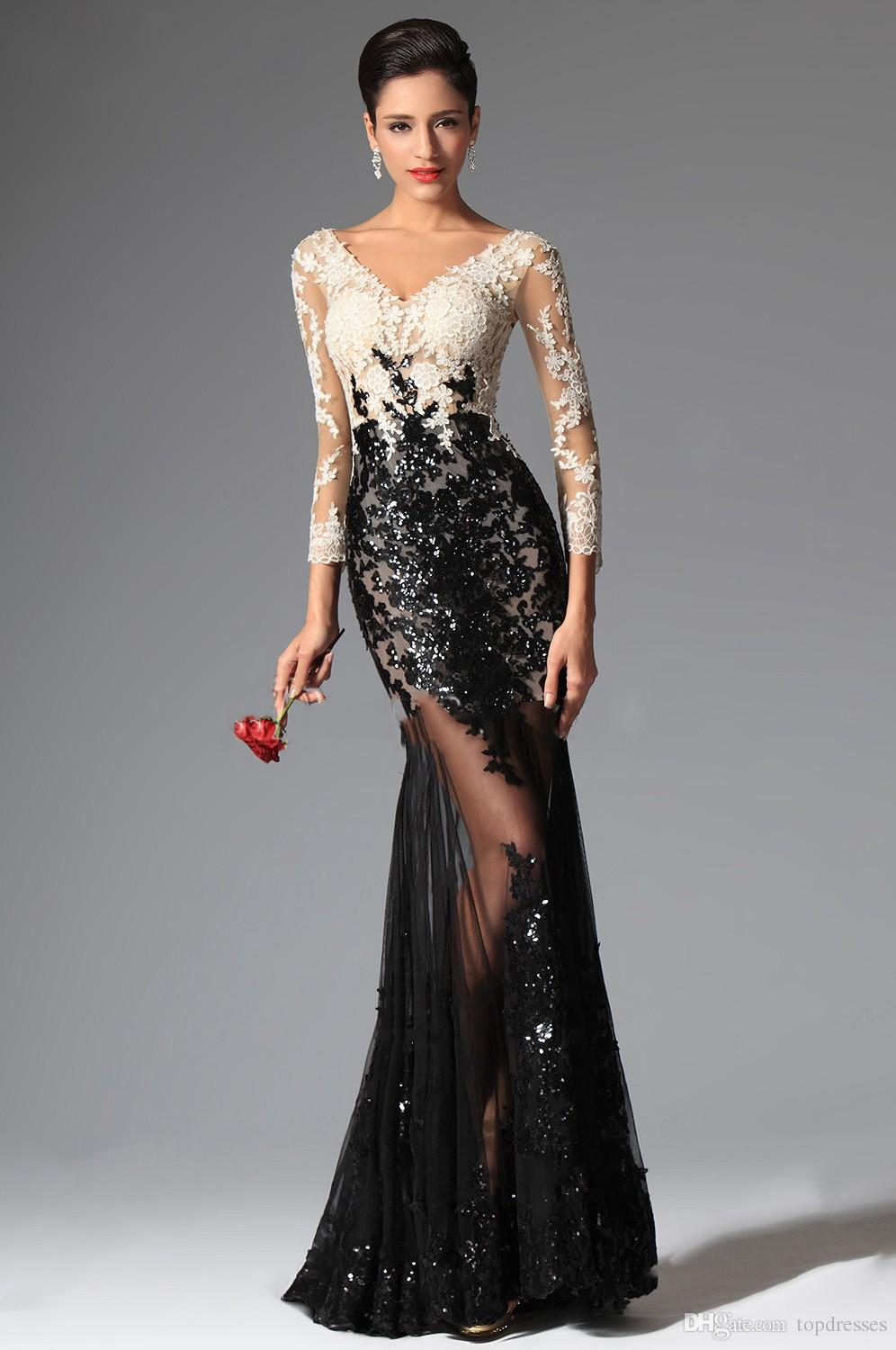 681607470d Sexy Sheer Lace Evening Dresses 2016 Black and White Mermaid Long Sleeves  Prom Dresses V Neck Sequins Appliqued Lace Prom Gowns-in Evening Dresses  from ...