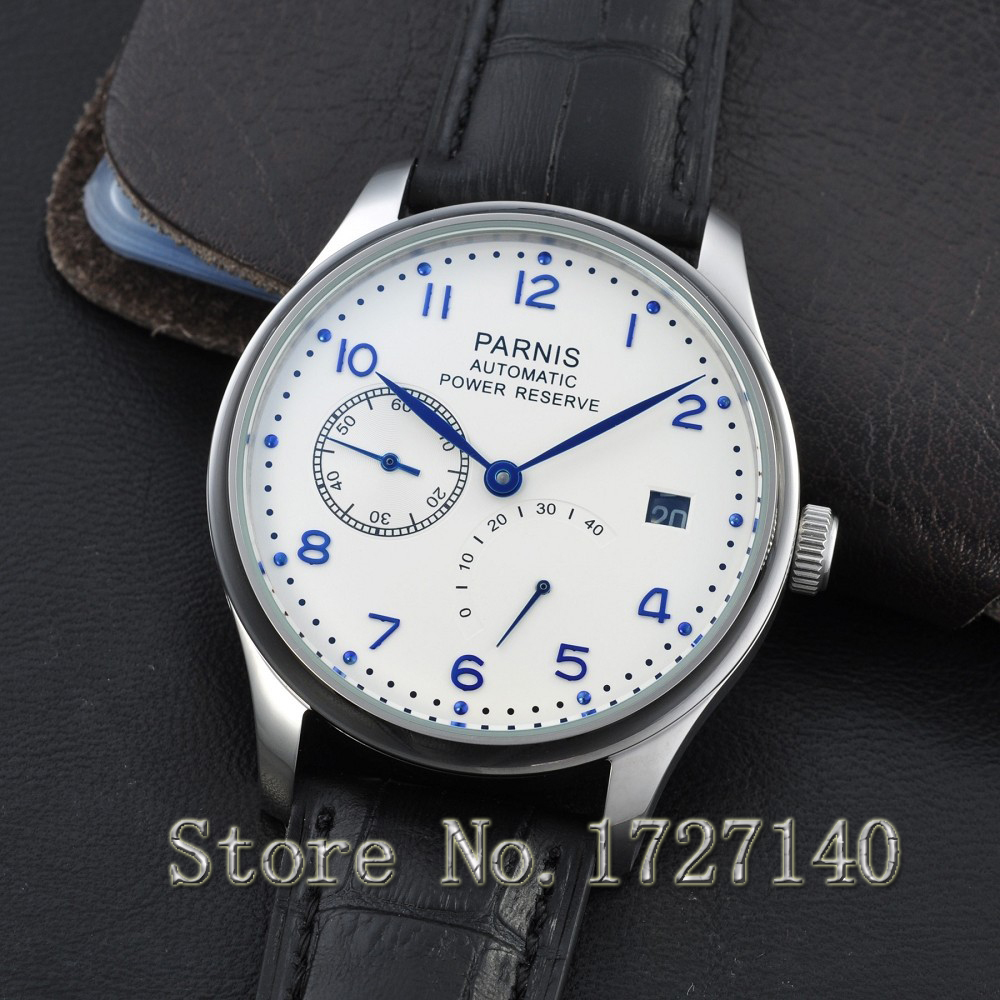 43mm Parnis White Dial Blue Numbers Power Reserve Automatic Men's Watch 0101 casual 43mm parnis automatic power reserve white dial blue numbers silver watch case business watch men