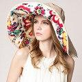 Flores sombrero de Sun algodón plegable ala ancha sombreros de Sun para mujeres ciclo Sun Shade adulto Anti UV sombrero de mujer primavera verano otoño