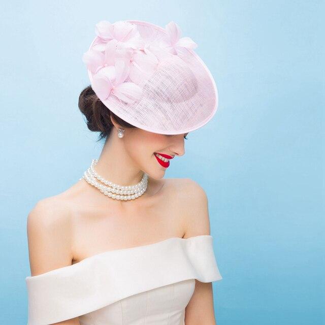 England Pink Pillbox Hats Women Elegant Flower Fedora for Ladies Wedding  Dress and Fascinator Party Church Derby Hat B-8227 6cbc1ecaea9