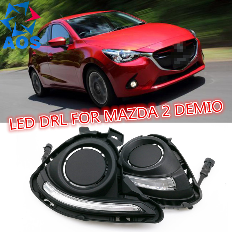 2PCs/set Auto LED DRL Daylight lamp Car Daytime Running lights set For MAZDA 2 Demio 2014 2015 2016 high quality h3 led 20w led projector high power white car auto drl daytime running lights headlight fog lamp bulb dc12v