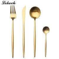 LEKOH 8 renkler 18/10 Paslanmaz Çelik Siyah Yemek Seti Altın Çatal Set Çatal Bıçak Kepçe Düğün Gümüş Set