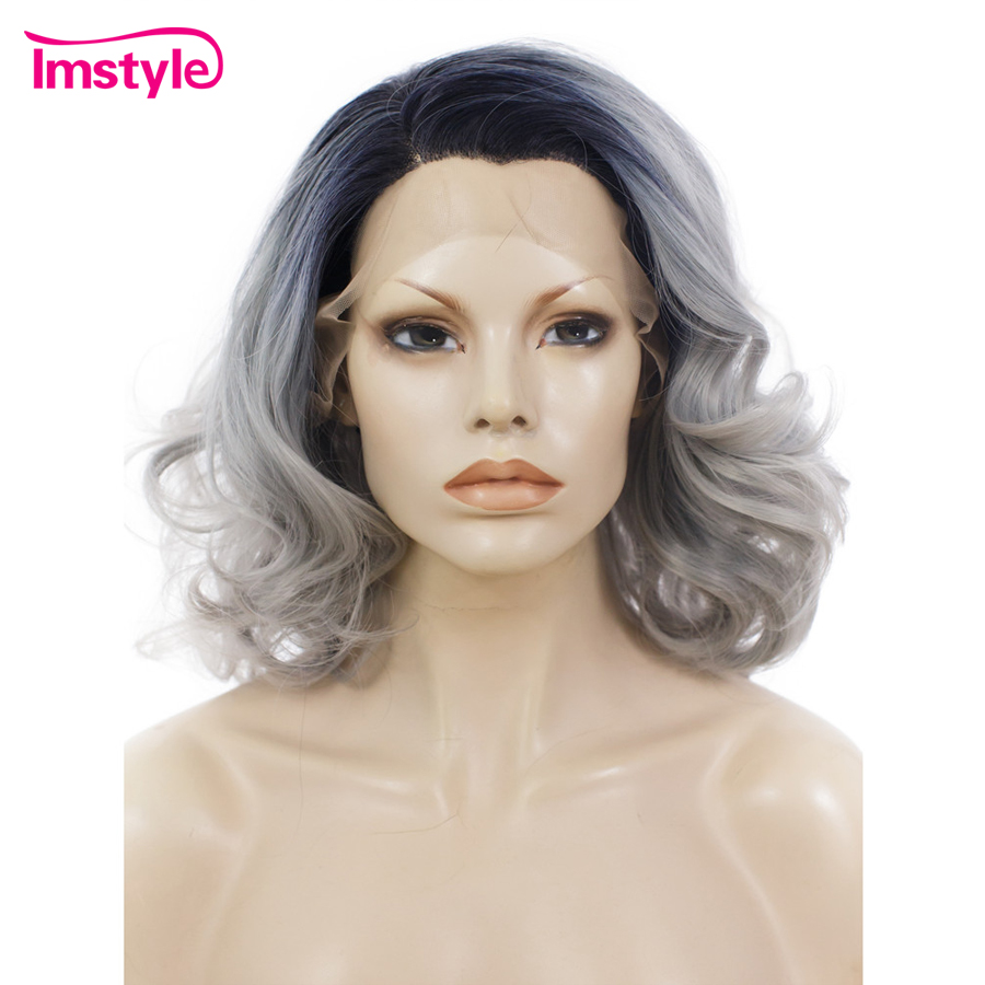 Imstyle Lace Wig Wavy Grey Ombre Wigs Synthetic Hair Lace Front Wigs For Women Heat Resistant