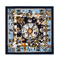 Brand Designer Scarf Blue Stylish Bandana The Gods Of Heaven Print Large Square Silk Scarves for Women Echarpes Foulards Femme