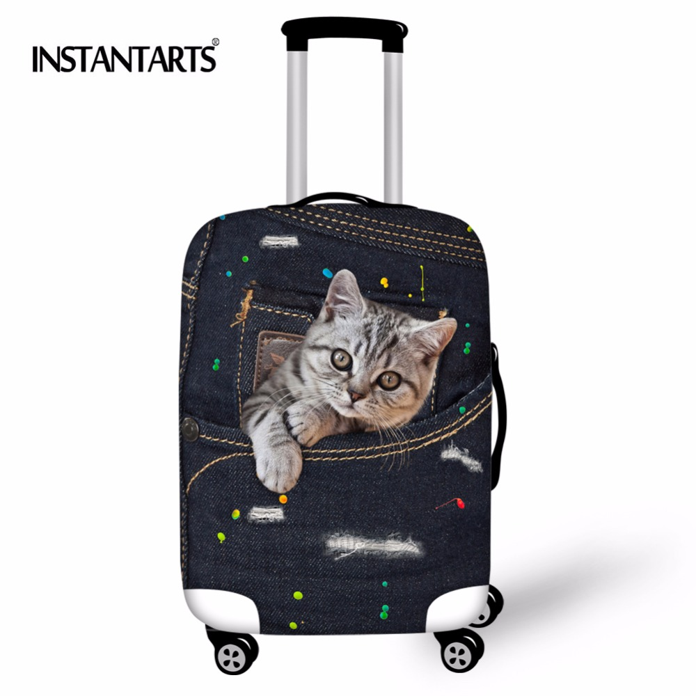 INSTANTARTS Thicker Travel Luggage Suitcase Protective Cover Black Denim Cat Print Trolley Luggage Covers Elastic Trunk Case