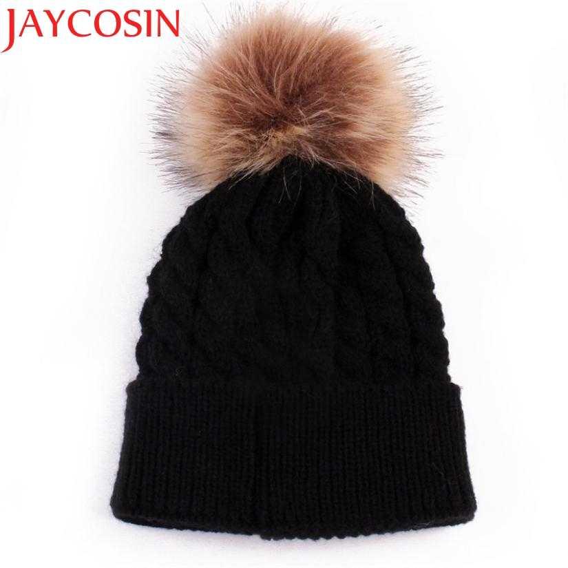 f377c9e1a Skullies Beanies Newborn Cute Winter Kids Baby Hats Knitted Pom Pom ...
