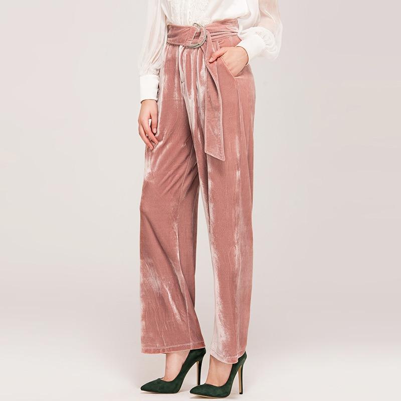 Breite Frühjahr Rosa Gemischt Hohe Voller Bein 2019 Hosen Länge Taschen Mode Feste Hose Frauen Seide Taille Velour Schärpen 19 Design XSHwzT