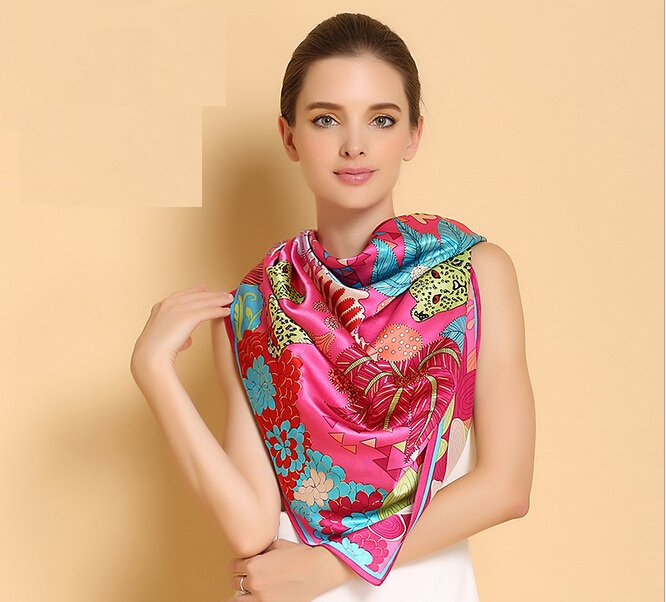 2017 new women silk scarf floral print top quality red fashion brand silk scarfs for lady large square silk shawls pashminapink