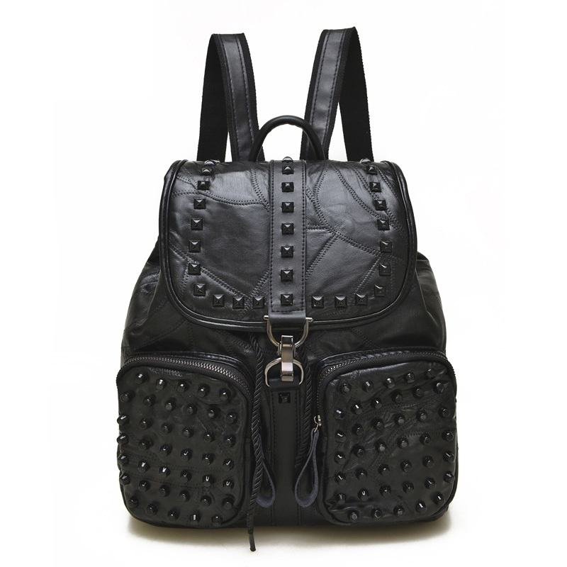 Black Leather Backpack Women Rivet Bookbags for School Soft sheepskin Leather Bags Shoulder For Girls Travel