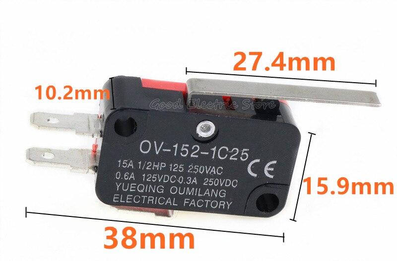 5pcs V-152-1C25 Straight Hinge Lever AC DC Micro Switch Limit Swi G3