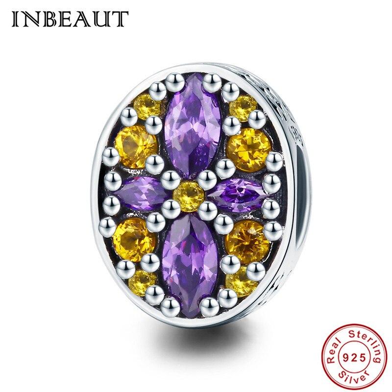 INBEAUT 100% Genuine 925 Sterling Silver Vitage Princess Oval Yellow Purple Flower Garden Beads fit Pandora Charms Bracelet Girl