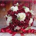 Красивые Цветы Ручной Работы Декоративные Искусственные Цветы Розы Жемчуг Невесты Свадебное Кружева Акценты Свадебные Букеты с Лентой